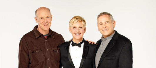 Craig Zadan & Neil Meron with 86th Oscars host Ellen Degeneres